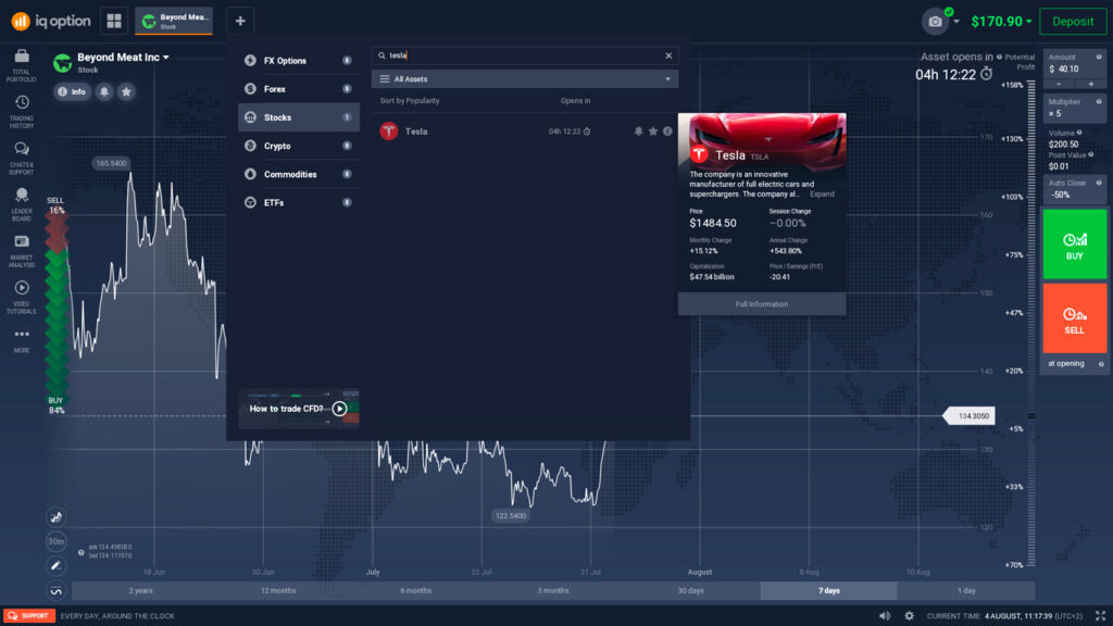 Open Tesla stock page on IQ Option